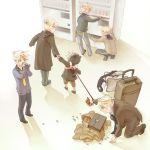 6+boys baby blue_neckwear drinking hand_holding hood kagamine_len kneeling leash male_focus multiple_boys multiple_persona necktie ponytail school_uniform shiruko_(food) squatting suitcase vending_machine vocaloid