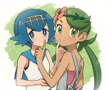 2girls :t bangs bare_arms bare_shoulders black_swimsuit blue_eyes blue_hair blue_sailor_collar blush bright_pupils closed_mouth commentary_request dark_skin finger_to_another's_mouth flower freckles green_background green_eyes green_hair hair_between_eyes hair_flower hair_ornament hairband hand_up holding long_hair looking_at_viewer looking_to_the_side low_twintails mao_(pokemon) meis_(terameisu) multiple_girls one-piece_swimsuit pink_flower pink_shirt pokemon pokemon_(game) pokemon_sm sailor_collar school_swimsuit shiny shiny_hair shirt short_hair sleeveless sleeveless_shirt smile suiren_(pokemon) swept_bangs swimsuit swimsuit_under_clothes tareme twintails undershirt upper_body white_background white_shirt