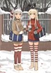 2girls alternate_costume amatsukaze_(kantai_collection) bag bag_charm blonde_hair boots brown_coat charm_(object) coat cup fang full_body gloves hair_tubes highres holding holding_cup kantai_collection keychain long_hair long_sleeves looking_at_viewer miniskirt mittens multiple_girls open_mouth outdoors plastic_cup red_coat red_legwear rensouhou-chan shimakaze_(kantai_collection) silver_hair single_glove skirt smile snow soil_chopsticks standing steam striped striped_legwear thigh-highs two_side_up windsock zettai_ryouiki
