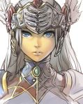 1girl blue_eyes commentary_request face grey_hair hankuri helmet lenneth_valkyrie lips long_hair looking_at_viewer parted_lips simple_background solo spaulders upper_body valkyrie_profile visor_(armor) white_background winged_helmet