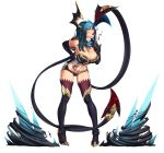 1girl bare_shoulders black_gloves black_legwear blood blue_eyes blue_hair boots breasts cleavage demon_girl demon_tail demon_wings elbow_gloves evelynn gloves hand_on_hip high_heels horns large_breasts league_of_legends lips looking_at_viewer midriff naughty_face navel nikita_varb simple_background smile solo spikes tail tattoo thigh-highs thigh_boots tongue very_long_tail white_background wings