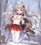 1girl animal_ears azur_lane bare_tree blush breasts cape clenched_hands collar day dog eyebrows_visible_through_hair floral_print flower full_body grey_hair groin hair_flower hair_ornament jumping large_breasts legs_up long_hair looking_at_viewer manda_(manda9n) navel outdoors paw_pose pleated_skirt red_eyes red_skirt sandals sarashi skindentation skirt snow snowing thick_eyebrows thigh-highs tree v-shaped_eyebrows very_long_hair white_legwear yuudachi_(azur_lane)