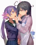 2girls ahoge akebono_(kantai_collection) alternate_costume animal animal_on_head apron bell black_hair blue_skirt blush brown_eyes chocolate commentary cowboy_shot dated eye_contact flower food_in_mouth frown green_sailor_collar hair_bell hair_between_eyes hair_flower hair_ornament hand_holding highres jingle_bell kantai_collection long_hair long_sleeves looking_at_another lynchis multiple_girls on_head open_mouth pleated_skirt purple_hair rabbit round_teeth sailor_collar side_ponytail simple_background skirt sweater teeth twitter_username ushio_(kantai_collection) valentine very_long_hair violet_eyes white_background yuri