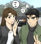 1boy 1girl akikawa_reina black_hair black_jacket brown_hair car clenched_teeth green_jacket ground_vehicle hand_up initial_d iz_o jacket jewelry long_hair motor_vehicle nakazato_takeshi necklace nissan nissan_skyline open_clothes open_jacket open_mouth outdoors ribbed_sweater shirt speech_bubble sweatdrop sweater teeth thick_eyebrows wangan_midnight white_shirt