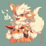 :d :o arcanine blue_background commentary_request eevee fangs fluffy fur hideko_(l33l3b) highres looking_at_viewer no_humans open_mouth pokemon pokemon_(creature) simple_background sitting smile tail