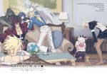 asymmetrical_wings blonde_hair blue_eyes blue_hair breasts choker couch dark_skin dizzy dog elphelt_valentine father_and_daughter father_and_son green_eyes guilty_gear guilty_gear_xrd ky_kiske long_hair maka_(morphine) mother_and_daughter necro_(guilty_gear) ponytail ramlethal_valentine red_eyes ribbon school_uniform short_hair sin_kiske smile sol_badguy tail twintails undine_(guilty_gear) white_hair wings
