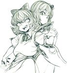 2girls bow cirno cowboy_shot daiyousei fairy fairy_wings greyscale ice ice_wings looking_back monochrome multiple_girls open_mouth smile space_jin touhou wings