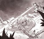 1boy 1girl gloves greyscale guardian_(breath_of_the_wild) link long_hair monochrome pointy_ears ponytail princess_zelda sayoyonsayoyo short_hair spoilers sword the_legend_of_zelda the_legend_of_zelda:_breath_of_the_wild weapon