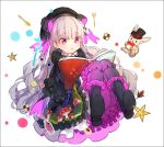 1girl :o alice_in_wonderland bangs beret black_capelet black_dress black_footwear black_gloves black_hat blush book boots bow capelet checkerboard_cookie cookie doll_joints dress elbow_gloves eyebrows_visible_through_hair fate/extra fate_(series) food food_print frilled_dress frilled_sleeves frills full_body fur-trimmed_capelet gloves hakusai_(tiahszld) hat hat_bow holding holding_book knees_together_feet_apart long_hair mushroom_print nursery_rhyme_(fate/extra) open_book parted_lips print_dress silver_hair solo striped striped_bow very_long_hair violet_eyes