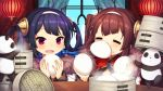 2girls =_= ahoge animal azur_lane bamboo_steamer bangs baozi blue_sky blush brown_hair closed_eyes clouds commentary_request day dress eyebrows_visible_through_hair food food_in_mouth food_on_face fur-trimmed_jacket fur_trim hair_rings hairband hairpods highres holding holding_food huziimiyuu indoors jacket lantern long_hair long_sleeves mouth_hold multiple_girls ning_hai_(azur_lane) ocean panda paper_lantern parted_lips ping_hai_(azur_lane) purple_dress purple_hair red_dress sky steam table twintails v-shaped_eyebrows violet_eyes water white_hairband white_jacket window