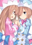 2girls :d ;) blancpig_yryr blue_eyes blue_jacket blue_neckwear blue_ribbon brown_hair double-breasted hat highres interlocked_fingers jacket long_hair looking_at_another multiple_girls neptune_(series) one_eye_closed open_mouth pink_jacket pink_neckwear pink_ribbon ram_(choujigen_game_neptune) ribbon rom_(choujigen_game_neptune) short_hair siblings simple_background sisters smile twins white_background
