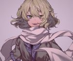 1girl bangs blonde_hair green_eyes grey_background looking_at_viewer mizuhashi_parsee momotarou_(4188momoko) open_mouth scarf short_hair short_sleeves simple_background slit_pupils solo touhou upper_body white_scarf