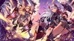 admiral_hipper_(azur_lane) ahoge azur_lane bangs black_legwear blonde_hair blush boots breasts bubble cannons charging_(attack) choker energy_ball explosion eyebrows_visible_through_hair floating_hair garter_straps gloves green_eyes hair_between_eyes hand_on_head hat headgear highres iron_cross jacket knee_boots large_breasts leg_lift long_hair looking_afar looking_at_viewer looking_back machinery military military_uniform mole multicolored multicolored_clothes multicolored_footwear multicolored_gloves multicolored_hair multiple_girls outstretched_arm outstretched_hand parted_lips prinz_eugen_(azur_lane) redhead rigging rudder_shoes shiimo sidelocks silver_hair standing standing_on_liquid streaked_hair thigh-highs thighs turrets two_side_up uniform very_long_hair water waves wind wind_lift