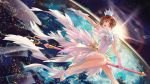1girl :d artist_name bare_legs brown_hair card card_captor_sakura clear_card crown dress earth flying gem gloves highres holding jiji_(pixiv10646874) kinomoto_sakura open_mouth outstretched_arm short_hair smile solo space staff sunlight white_dress white_footwear white_gloves