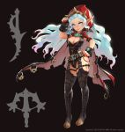 1girl 2015 artist_name black_background black_footwear black_legwear blue_eyes blue_hair boots bow_(weapon) breasts cape closed_mouth crossbow dagger english groin hand_on_hip head_tilt highres kim_eul_bong knee_boots large_breasts lipstick long_hair long_pointy_ears looking_at_viewer makeup multicolored_hair nail_polish original pink_hair pointy_ears red_lipstick red_nails silhouette smile solo spikes standing thigh-highs very_long_hair watermark wavy_hair weapon