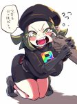 1girl blush breasts cabbie_hat cheek_pinching dress full_body gloves green_eyes green_hair hat kneeling koutamii large_breasts looking_at_viewer open_mouth pinching pokemon pokemon_(game) pokemon_ultra_sm speech_bubble team_rainbow_rocket_grunt team_rainbow_rocket_uniform team_rocket tears text translation_request wavy_mouth