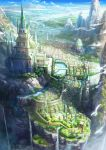 bird blue_sky bridge castle city cliff clouds day fantasy flower_bed fountain from_above gate highres kazemachi_(akainan) mountain no_humans original river scenery sky statue tower tree wall water waterfall
