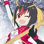 1girl :d ;d arm_up black_hair blonde_hair breasts buttons choker cleavage dress_shirt eyebrows eyebrows_visible_through_hair eyelashes facing_away fang guitar holding holding_instrument instrument kemono_friends kisachi_(12) long_hair looking_at_viewer multicolored_hair no_nose official_style one_eye_closed open_clothes open_mouth open_vest pink_choker pink_vest red_eyes redhead rockhopper_penguin_(kemono_friends) shirt smile solo tatsuki_(irodori)_(style) twintails upper_body v-shaped_eyebrows vest white_shirt wristband