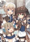 3girls :d ;d ahoge animal_ears apron bangs black_bow blue_eyes blue_neckwear blue_shirt book boots bow brown_coat brown_footwear brown_hair brown_hat brown_shorts cat_ears cat_girl cat_tail coat deerstalker detached_collar double_bun eyebrows_visible_through_hair fang fingernails frilled_apron frills green_eyes hair_between_eyes hat highres holding holding_book index_finger_raised light_brown_hair long_hair looking_at_viewer looking_back magnifying_glass multiple_girls necktie off_shoulder one_eye_closed open_mouth original parted_lips puffy_shorts sapphire_(sapphire25252) shirt shorts side_bun sidelocks skirt smile sparkle tail twintails waist_apron white_apron white_collar white_shirt white_skirt wing_collar wrench