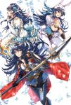 3girls alternate_costume animal_ears blue_eyes blue_hair butterfly easter_egg egg fire_emblem fire_emblem:_kakusei fire_emblem_heroes flower hair_flower hair_ornament leotard long_hair looking_at_viewer lucina multiple_girls multiple_persona polearm puffy_short_sleeves puffy_sleeves rabbit_ears shield short_sleeves simple_background spear sword wani_(fadgrith) weapon