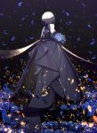 1girl absurdres artist_name artoria_pendragon_(all) bangs bare_shoulders black_background black_dress black_gloves black_ribbon blonde_hair blue_flower bouquet braid breasts chinese_commentary commentary_request dress elbow_gloves empty_eyes eyebrows_visible_through_hair falling_petals fate/stay_night fate_(series) flower french_braid from_behind full_body gloves gothic_lolita gown hair_between_eyes hair_bun hair_ribbon half-closed_eyes highres holding holding_bouquet light_particles light_smile lolita_fashion long_dress looking_at_viewer looking_back magicians_(zhkahogigzkh) pale_skin parted_lips petals ribbon saber_alter shade short_hair sidelocks small_breasts solo standing yellow_eyes
