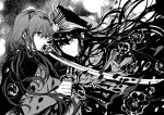 1boy 1girl bangs cape closed_mouth eyebrows_visible_through_hair fate/grand_order fate_(series) flower greyscale hair_between_eyes hat highres holding holding_sword holding_weapon jacket katana long_hair long_sleeves looking_at_another low_twintails monochrome oda_nobukatsu_(fate/grand_order) oda_nobunaga_(fate) peaked_cap rioka_(southern_blue_sky) rose sword twintails weapon