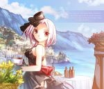 1girl bare_shoulders black_dress bow building clouds commentary_request cowboy_shot cup dress eyebrows_visible_through_hair eyelashes flower food frilled_dress frills from_side garter_straps hat holding holding_cup italian italy jewelry looking_back mountain necklace ocean purple_hair red_bow red_eyes short_hair sky solo st06 table tablecloth thigh-highs translation_request tree vittorio_veneto_(zhan_jian_shao_nyu) zhan_jian_shao_nyu