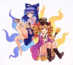 2girls aura bangle barefoot black_hat blue_bow blue_eyes blue_hair blue_skirt boots bow bowl bracelet broken brown_eyes brown_footwear brown_hair bushi_(1622035441) debt drawstring drill_hair earrings eyewear_on_head fan full_body hair_bow hair_ribbon hands_up hat hat_bow highres holding hood hoodie jacket jewelry knees_up long_hair looking_at_viewer miniskirt multiple_girls necklace pink_jacket red_ribbon ribbon ring shiny shiny_hair siblings simple_background sisters skirt smile stuffed_animal stuffed_cat stuffed_toy sunglasses touhou twin_drills yorigami_jo'on yorigami_shion
