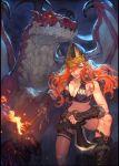 1girl dagger dragon helmet long_hair na_in-sung orange_hair original viking weapon