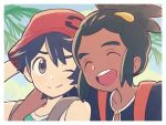 2boys agata_(agatha) black_hair blue_shirt blue_sky bucket_hat close-up dark_skin dark_skinned_male green_hair hair_ornament hairclip hat hau_(pokemon) male_focus multiple_boys pokemon pokemon_(game) pokemon_ultra_sm shirt sky smile tank_top topknot you_(pokemon_ultra_sm)