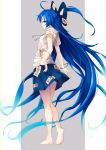 1girl absurdly_long_hair absurdres ahoge bangle bare_arms bare_legs barefoot blue_bow blue_eyes blue_hair blue_skirt bow bracelet chromatic_aberration debt drawstring full_body gradient_hair grey_background hair_bow highres hood hoodie iwashi_(nisankatanso) jewelry long_hair looking_at_viewer miniskirt multicolored_hair profile short_sleeves skirt smile solo standing touhou very_long_hair white_background yorigami_shion