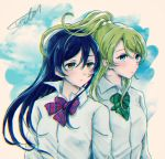 2girls ayase_eli bangs blonde_hair blue_eyes blue_hair bow bowtie closed_mouth clouds commentary_request dress_shirt floating_hair green_neckwear hair_between_eyes highres long_hair long_sleeves love_live! love_live!_school_idol_project multiple_girls otonokizaka_school_uniform ponytail red_neckwear school_uniform shirt sky sonoda_umi striped_neckwear suito white_shirt wind yellow_eyes