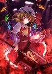 1girl ascot blonde_hair expressionless eyebrows_visible_through_hair fingernails flandre_scarlet hat hat_ribbon highres holding holding_sword holding_weapon looking_at_viewer mob_cap nail_polish puffy_short_sleeves puffy_sleeves red_eyes red_nails red_ribbon red_skirt ribbon sharp_fingernails short_sleeves sinkai skirt skirt_set solo sword touhou weapon white_hat wings yellow_neckwear