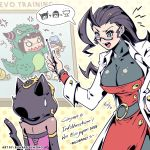 2girls absurdres adapted_costume ahoge breasts cleavage congratulations cosplay dark_skin evolution_championship_series godzilla godzilla_(cosplay) godzilla_(series) han_juri highres huge_ahoge labcoat large_breasts menat multiple_girls pointer richard_suwono rose_(street_fighter) skin_tight street_fighter street_fighter_v teacher