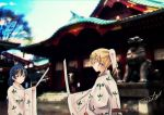 2girls ayase_eli bangs blonde_hair blue_eyes blue_hair commentary_request hair_between_eyes highres holding holding_sword holding_weapon japanese_clothes katana long_hair looking_at_another love_live! love_live!_school_idol_project miko multiple_girls outdoors photo_background sheath shinto shrine sonoda_umi suito sword weapon wide_sleeves