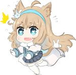 /\/\/\ 1girl ahoge animal_ears bailingxiao_jiu blue_eyes blue_hairband blue_jacket blue_skirt blush cape cat_ears cat_girl cat_tail chibi fang flying_sweatdrops full_body fur-trimmed_jacket fur_trim girls_frontline hairband highres jacket kemonomimi_mode light_brown_hair long_hair long_sleeves mittens no_shoes open_mouth outstretched_arms pleated_skirt simple_background skirt solo sparkle striped suomi_kp31_(girls_frontline) sweatdrop tail thigh-highs tripping vertical-striped_skirt vertical_stripes very_long_hair wavy_mouth white_background white_cape white_legwear white_mittens