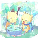 food fuwasn1545 highres ice_cream minun no_humans one_eye_closed open_mouth pokemon pokemon_(creature) pokemon_(game) smile sparkling_eyes tongue tongue_out
