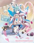 1girl aqua_hair blue_eyes boots cardfight!!_vanguard company_name feathered_wings gloves hairband hat heart initial_celestial_ruhiel official_art pantyhose pill saitou_takeo solo syringe wings