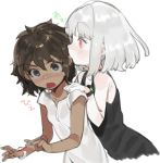 2girls :o albino bare_shoulders black_eyes black_shirt blush bracelet brown_hair commentary_request dark_skin ear_licking highres interracial jewelry licking looking_at_viewer multiple_girls ohisashiburi open_mouth original red_eyes shirt short_hair silver_hair simple_background sleeveless sleeveless_shirt translation_request white_background white_shirt wide-eyed yuri