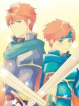 2boys armor blue_eyes blue_hair cape eliwood_(fire_emblem) father_and_son fire_emblem fire_emblem:_fuuin_no_tsurugi fire_emblem:_rekka_no_ken fire_emblem_heroes headband highres looking_at_viewer male_focus multiple_boys nishimura_(nianiamu) redhead roy_(fire_emblem) short_hair smile sword weapon