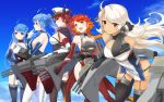5girls ahoge azur_lane bare_shoulders black_gloves black_legwear black_ribbon blonde_hair blue_hair blue_sky breasts cannon character_request cleavage elbow_gloves gloves gradient_hair hair_ribbon hat highres large_breasts long_hair looking_at_viewer looking_to_the_side military_hat multicolored_hair multiple_girls orange_hair peaked_cap ponytail red_eyes red_gloves red_legwear ribbon sideboob sky thigh-highs turret twintails violet_eyes white_gloves white_legwear yamashiki_(orca_buteo) yellow_eyes