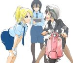 3girls ayase_eli bangs black_hair black_legwear blonde_hair blue_eyes blue_hair commentary_request formal gloves goggles ground_vehicle hair_between_eyes helmet long_hair looking_at_another love_live! love_live!_school_idol_project motor_vehicle motorcycle multiple_girls necktie open_mouth pantyhose pencil_skirt police police_uniform policewoman ponytail red_eyes riding scrunchie simple_background sitting skirt sonoda_umi standing suit tetopetesone uniform white_background white_gloves yazawa_nico