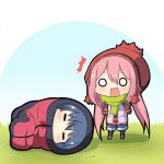 /\/\/\ 2girls beanie black_gloves black_legwear blue_hair blue_shorts blush chibi closed_eyes eyebrows_visible_through_hair gloves grass green_scarf hair_between_eyes hat kagamihara_nadeshiko long_hair long_sleeves low_twintails lying multiple_girls o_o on_ground on_side open_clothes open_mouth open_vest pink_hair plaid plaid_shirt red_shirt scarf shadow shima_rin shirt shorts sleeping_bag standing twintails twumi v-shaped_eyebrows very_long_hair vest wavy_mouth yurucamp