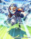 1boy armor armored_boots boots cardfight!!_vanguard company_name faceless faceless_male fullspeed_specter gloves helmet male_focus official_art orange_eyes rugby_ball rugby_uniform sky solo sportswear teeth visor