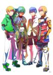 4boys armor blonde_hair blue_hair boots claude_kenni commentary_request crossover edge_maverick fayt_leingod happy knee_boots multiple_boys roddick_farrence short_hair so3fans star_ocean star_ocean_first_departure star_ocean_the_last_hope star_ocean_the_second_story star_ocean_till_the_end_of_time