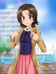 1girl bangs blurry blurry_background blush brown_coat brown_eyes brown_hair casual clouds cloudy_sky clover coat collared_shirt cowboy_shot day eyebrows_visible_through_hair fechisupi girls_und_panzer highres jewelry light_frown looking_at_viewer medium_skirt navy_blue_shirt necklace open_mouth outdoors parted_bangs pink_skirt polka_dot polka_dot_shirt red_belt sawa_azusa shirt short_hair skirt sky solo standing