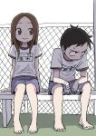 1boy 1girl absurdres bangs barefoot bench black_hair blue_shorts blush brown_eyes brown_hair closed_mouth embarrassed fence highres karakai_jouzu_no_takagi-san long_hair looking_away name_tag nishikata parted_bangs sanpaku shirt short_sleeves shorts sitting sketch smile sweatdrop takagi-san toenails white_shirt yamamoto_souichirou