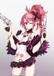 1girl bracelet breasts cleavage crown disgaea dual_wielding gun handgun jewelry kitemaple large_breasts looking_at_viewer makai_senki_disgaea_5 miniskirt necktie one_eye_closed open_mouth pink_hair pointy_ears ponytail revolver seraphina_(disgaea) skirt smile solo violet_eyes weapon