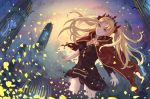 1girl black_dress black_panties blonde_hair brown_eyes cape dress ereshkigal_(fate/grand_order) fate/grand_order fate_(series) floating_hair hair_ribbon highres long_hair nail_polish outstretched_arms panties red_cape red_nails red_ribbon ribbon short_dress smile solo standing underwear very_long_hair