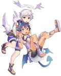 2boys angel angel_wings bike_shorts blue_hair blush cosplay costume_switch demon_boy demon_tail demon_wings full_body geetgeet halo horns looking_at_viewer low_wings luke_venus male_focus mini_wings multiple_boys open_mouth pointy_ears pop-up_story sandals school_uniform silver_hair tail violet_eyes wings ziz_glover